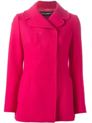 Dolce And Gabbana Short Double Breasted Coat Pink And Purple
