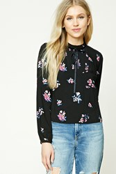 Forever 21 Ruffle Mock Neck Floral Top Black Purple
