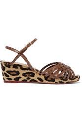 Charlotte Olympia Dilys Leather And Leopard Print Calf Hair Wedge Sandals Leopard Print