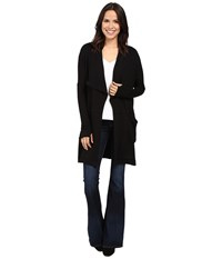 Michael Stars Elevated French Terry Draped Coat With Pockets Black Women's Coat