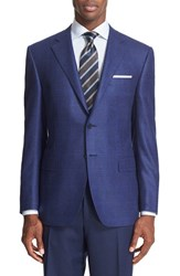 Canali Men's Big And Tall Classic Fit Windowpane Wool And Cashmere Sport Coat Blue