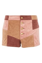 Wyldr Patchwork Faux Suede Shorts By Brown