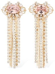 Anton Heunis Omega Clasp Cascade Cluster Earrings Pink