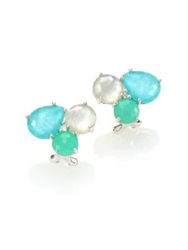 Ippolita Rock Candy Chrysoprase Green Turquoise Mother Of Pearl And Sterling Silver Cluster Earrings Silver Multi