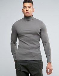 Asos Extreme Muscle Long Sleeve T Shirt In Rib Fabric With Roll Neck And Pigment Wash Grey
