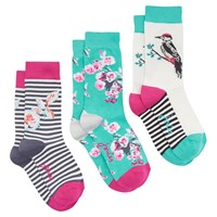 Joules Floral And Bird Pattern Ankle Socks Pack Of 3 Multi