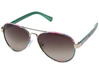 Lilly Pulitzer Ainsley Shiny Gold Fan Sea Pants Polarized Gradient Brown Fashion Sunglasses