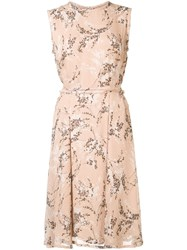 Jason Wu Floral Print Dress Nude Neutrals