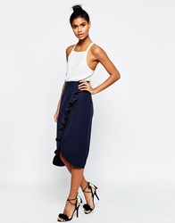 Asos Tailored Wrap Pencil Skirt With Ruffle Detail Navy