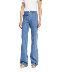 See By Chloe Stretch Denim High Rise Flare Jeans Washed Indigo