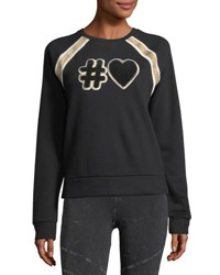Marc New York Applique Varsity Sweater W Shimmer Stripe Black