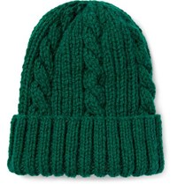 Connolly Cable Knit Wool Beanie Green