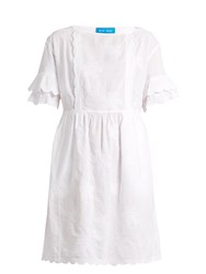 Mih Jeans Boysy Embroidered Linen Blend Dress White