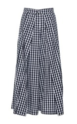 Rahul Mishra Gingham Pleated Palazzo Pant Navy
