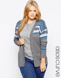 Asos Curve Exclusive Cardigan With Christmas Fairisle Multi