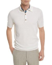 Zegna Sport Textured Knit Polo Shirt White