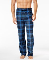 Club Room Men's Fleece 2 Pack Pajama Pants Only At Macy's Blue Plaid And Navy Solid
