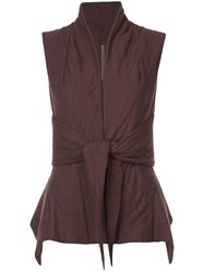 Rick Owens Lilies Padded Tie Front Gilet Red