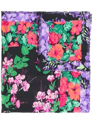 Gucci Flowers Print Scarf Women Silk One Size Black