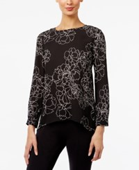 Vince Camuto Pleated Back High Low Blouse Black Floral Print