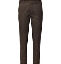Club Monaco Brown Sutton Slim Fit Puppytooth Woven Trousers Brown