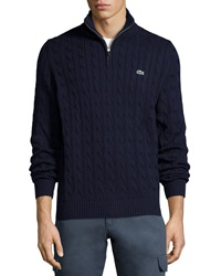 Lacoste Cable Knit Half Zip Knit Sweater Navy