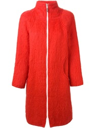 Courreges Vintage Contrasted Zip Coat Red