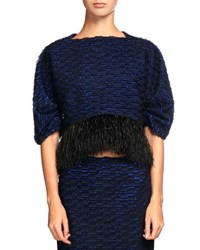 Proenza Schouler Knit Crop Top W Feather Embellishment Indigo