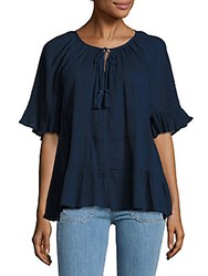 Beach Lunch Lounge Solid Short Sleeve Top Navy