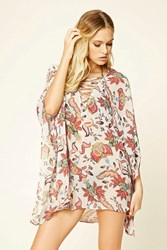 Forever 21 Abstract Floral Cover Up Kaftan Cream Multi