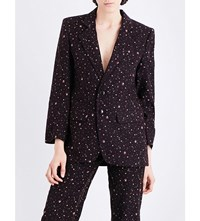 Eckhaus Latta Single Breasted Floral Print Corduroy Blazer Black Multi