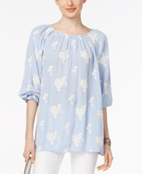 Chelsea And Theodore Embroidered Peasant Blouse Chambray Blue Ivory