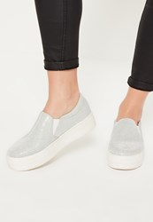 Missguided Silver Glitter Fabric Skater Pumps