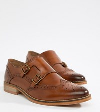 Asos Design Wide Fit Monk Shoes In Tan Leather With Natural Sole