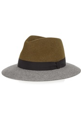 Lanvin Color Block Rabbit Felt Fedora