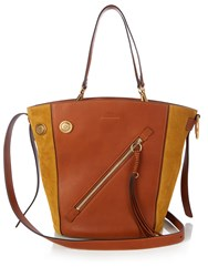 Chloe Meyer Medium Leather And Suede Tote Tan