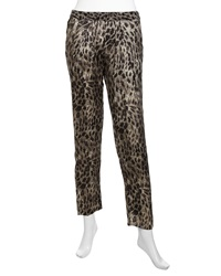 Marchesa Voyage Flowy Cheetah Faille Pants Black Cheetah