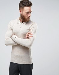 Asos Muscle Fit Knitted Polo In Merino Wool Beige