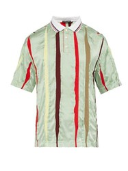 Y Project Striped Insert Silk Polo Shirt Light Green