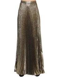Saint Laurent Plisse Lurex Jacquard Long Skirt Gold