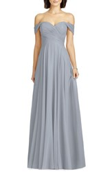 Dessy Collection 'S Lux Off The Shoulder Chiffon Gown Platinum