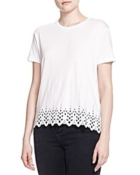 The Kooples Embroidered Eyelet Tee White