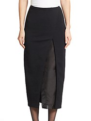Donna Karan Shadow Panel Suit Skirt Black
