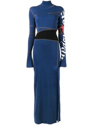 Tigran Avetisyan By Pavel An Printed Ribbed Full Length Dress Women Cotton S Blue