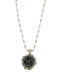 2028 Necklace Silver Tone Jet Enamel Flower Pendant