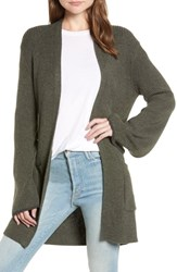 Hinge Tipped Bell Sleeve Cardigan Olive Sarma Charcoal Combo