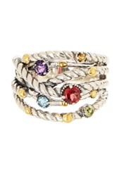 Effy Sterling Silver And 18K Yellow Gold Gemstone Ring Multi