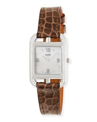 Hermes Cape Cod Diamond Stainless Steel And Alligator Strap