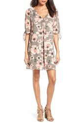 Soprano Women's Jules Split Sleeve Shift Dress Grey Floral