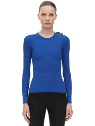 Balenciaga Viscose Blend Rib Knit Sweater Royal Blue
